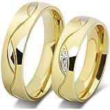 18K Gold Plated Titanium Steel Fashion Shining Diamond Wedding Gift Love Couple Ring Set Female us7 Male us8 cr17