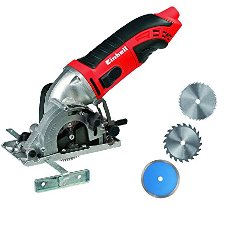Einhell TC-CS 860 Kit - Pack con mini sierra, 2 hojas de sierra y un disco de corte, 6000 rpm, 450 W, 230 - 240 V, color rojo y negro