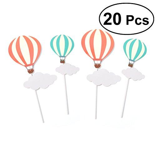 TOYMYTOY 10 Par Lollipop Decoración Torta de Cumpleaños Globo Aerostático Nube Adornos Niños Regalo Kindergarten Decoración Para la Fiesta de Navidad (10 Red Hot Air Balloon + 10 Blue Hot Air Balloon)