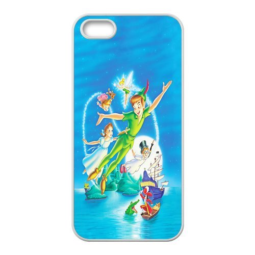 Apple iPhone 5/iPhone 5S Case Coque de protection Case-Peter Pan TPU Étui Coque de Protection pour iPhone 55S (Blanc/Noir)