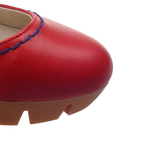 VogueZone009 Donna Luccichio Tacco Alto Punta Chiusa Punta Tonda Puro Fibbia Ballerine Rosso