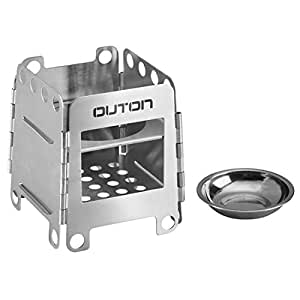 OUTON Portable Camping Wood Stove Folding Lightweight Stainless Steel Alcohol Stove Outdoor Cooking Backpacking Stove(Small)