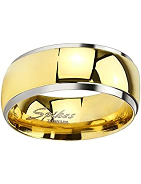 Piersando Band Ring Titan poliert mit Silber Rand Bandring Ehering Partnerring Damen Herren