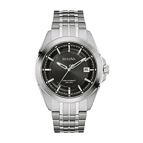 Bulova Precisionist 96B252 - Herren Designer-Armbanduhr - Edelstahl mit schwarzem Zifferblatt