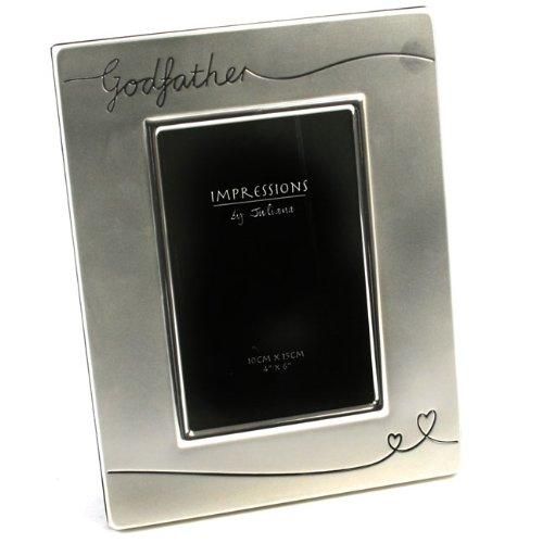 Widdop Bingham - Cornice fotografica placcata argento, per foto 15 x 10 cm, con inciso 'Godfather' ('Padrino', in inglese)