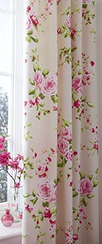 Catherine Lansfield BDB2-8239-WCTB72-Red - Cortinas, 168 x 183 cm, diseño floral (2 unidades)
