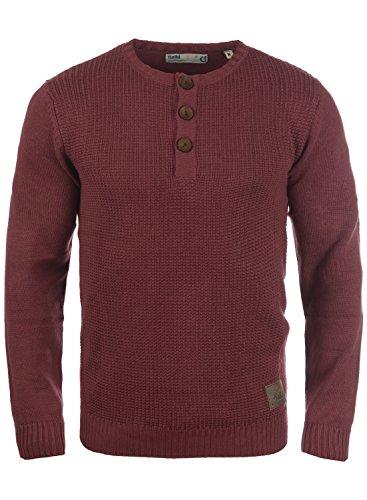 !Solid Terrance Herren Strickpullover Feinstrick Pullover Mit Rundhals Und Knopfleiste, Größe:XL, Farbe:Wine Red Melange (8985)