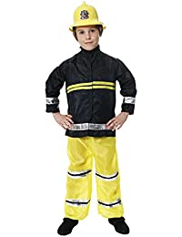 BOYS GIRLS TODDLER FIREMAN FIRE FIGHTER FANCY DRESS COSTUME FITS 4 - 6 YEARS