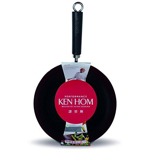 KEN HOM Nonstick Carbon Steel Wok - Flat Bottom Asian Stir Fry Pan with Handle - 11