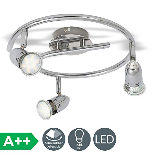 B.K.Licht - Lámpara de techo con 3 Focos LED GU10, focos ajustables...