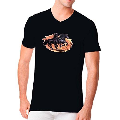 Fun Männer V-Neck Shirt - Galoppierende Pferde by Im-Shirt Schwarz