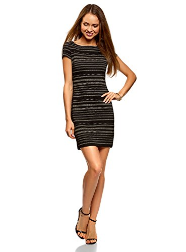 oodji Ultra Damen Enges Jersey-Kleid, Schwarz, DE 34 / EU 36 / XS