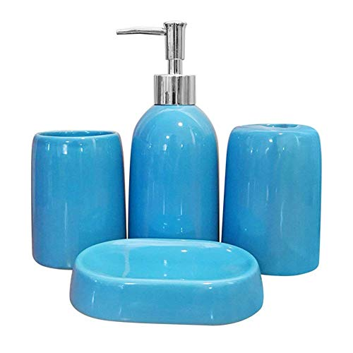 LOHOX Badezimmerzubehör-Set aus Keramik, modernes Design, Set mit Lotion-Flaschen, Zahnbürstenhalter, Becher, Seifenspender, 4-teilig, Blau