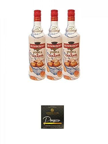 Rushkinoff Vodka & Caramello 3 x 1,0 Liter + Chateau du COQ Prosecco Kondom 1er