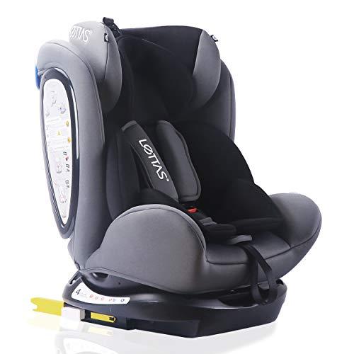 LETTAS Kinder Autositze Sitzschale Baby autositz 0+1/2/3 (0-36 kg) mit Protektoren seitliche Isofix ECE R44/04 (ISOFIX Schwarz)