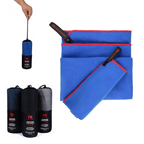 Premium Mikrofaser Handtücher im 2er-Pack mit Tragetasche [140cm x 70cm & 70cm x 40cm] (Royalblau)