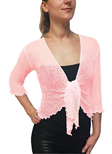Mimosa Damen Crochet Strecken Fisch-Netz Boleroshrug Mutterschaft Krawatte an der Taille Cardigan (Einheitsgröße für DE 34-42, Pink) -
