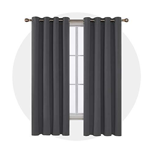 Deconovo Gardinen Blickdicht Ösen Gardinen Schlafzimmer Vorhänge Blickdciht 175x140 cm Dunkelgrau 2er Set (Vorhang-sets Für Schlafzimmer)