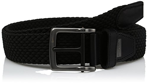 Nike Men's Nike Men's Stretch Woven Belt, black, 40 (Leather Black Woven Belt)