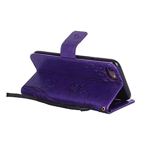 EKINHUI Case Cover Premium PU Leder Folio Stand Case, Solid Farbe prägeartig Blumen Muster Schutzhülle Tasche Tasche mit Lanyard & Card Slots für iPhone 7 ( Color : Red ) Modena