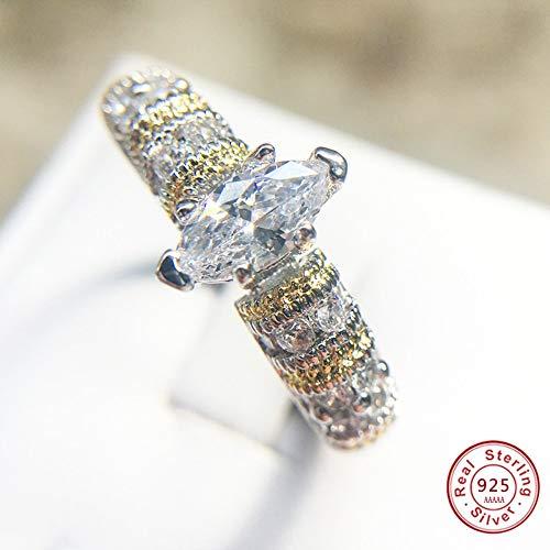 Hddwzh Woman Ring,Großen Leuchtenden Stein Bridal Ringe Frauen Silber Handgearbeitet Infiity Prong Google-Inserat Oval Crystal Intermittierende Farbe Ring, 10.