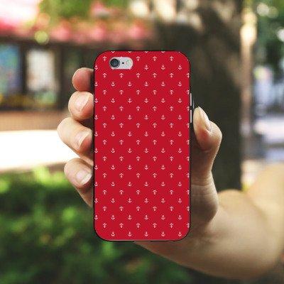 Apple iPhone 5s Housse Étui Protection Coque Ancre Mode été Rouge Housse en silicone noir / blanc