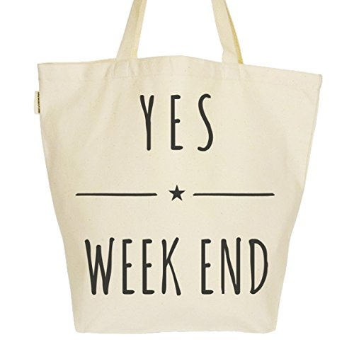 Grand Sac Cabas Fourre-tout Imprimé Toile Bio 37x45x20cm Tote Bag XL - Yes Week end
