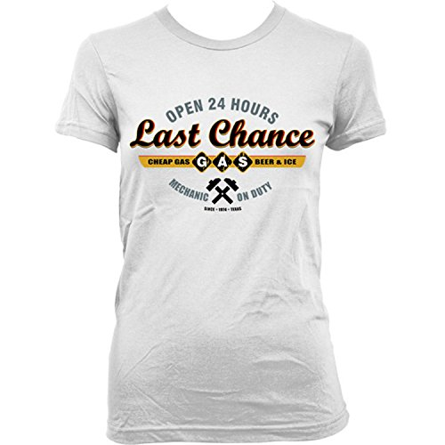 9270Lw Sawyers Last Chance Gasoline Donna T-Shirt The Texas Chainsaw Massacre Leatherface Saw Wrong Turn(X-LargeWhite)