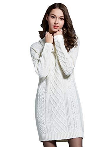 Zhiyuanan Damen Herbst Winter Strickkleid Große Größe Langarm Rollkragen Kabel Pullikleid Warm Casual Pulloverkleid Jerseykleid Lang Pullover Minikleid Weiß L - Lange Kabel Pullover