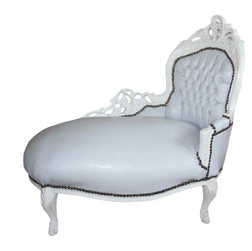 Casa Padrino Barock Kinder Chaiselongue Weiß/Weiß - Recamiere Barock Möbel