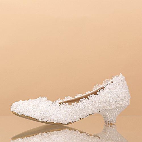 Si& Hochzeitsschuhe der Frauen / Prinzessin und Braut / handgemachte Abziehbilder / niedrige Ferse / Partei u. Abendkleid / weiße Tanzschuhe 5CM