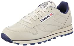 Reebok Mens Classic Leather Low-top Sneakers Beige (Ecru/Navy) 7 UK