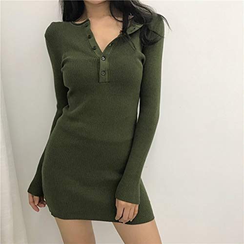 DRLVMO Recommend Sexy Buttons Knitted Dress Short Autumn Long Sleeve Dress Petite Robe Femme Belted Button Strap Dress