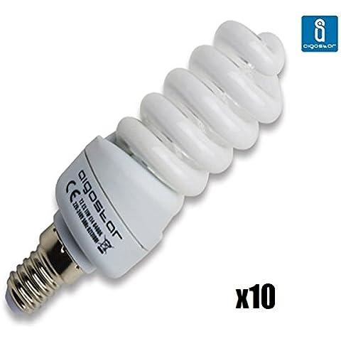 Pack de 10 Bombillas T2, 11W, forma espiral, casquillo fino E14, luz blanca 6400K