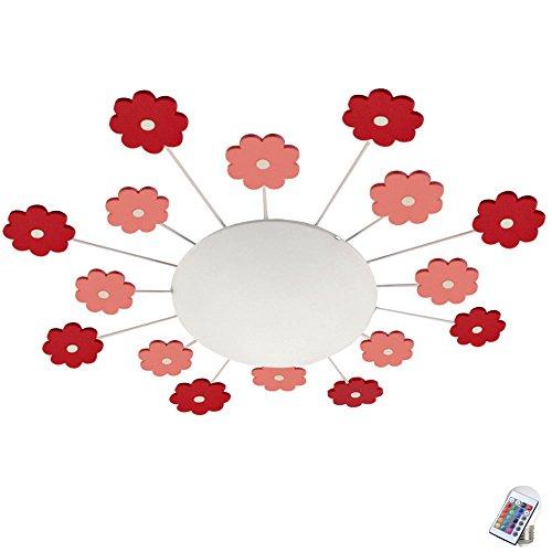Decken Leuchte Fernbedienung Mädchen Blumen Lampe rosa Wand Licht im Set inkl. RGB LED Leuchtmittel (Blume Baby Lampe)