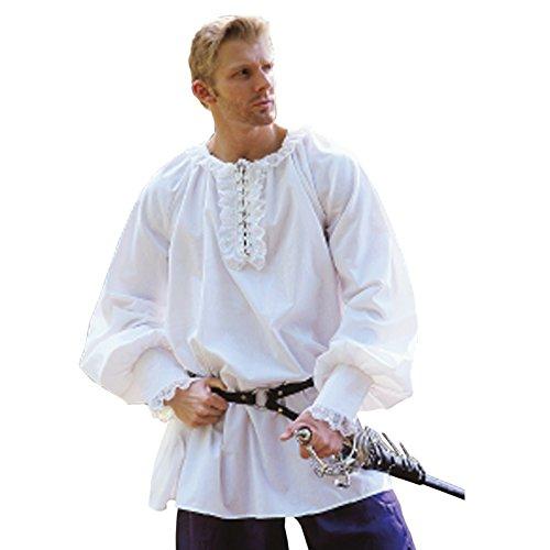 Herren Renaissance Zubehör Kostüm - Elbenwald Renaissance Hemd lang - königliches Rüschen Hemd Kostüm Zubehör weiß/edel Knappe - S/M