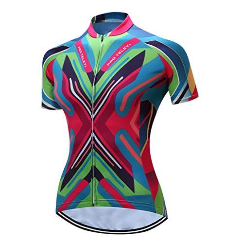 Radfahren Jersey Frauen Fahrrad Trikots Sport MTB Straßenberg Bluse Kurzarm Fahrrad T-Shirts Top Outdoor Reiten Jersey Fahrrad Jacke rot grün Größe L -