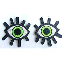 """Toppe termoadesive toppa per bambini jeans stoffa cucito patch ricamata ricamate adesiva applicazioni termoadesive """" due occhi 9 x 9cm a un pezzo"""""""