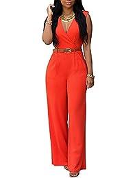 8d8b04741f7 Minetom® Women s Sexy Sleeveless V Neck Belted Jumpsuit Playsuit High Waist  Long Wide Leg Pants