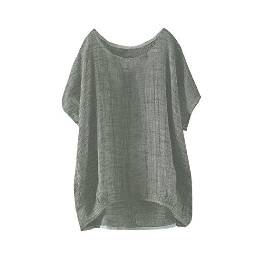 IMJONO T-Shirt Womens Fledermaus Kurzarm beiläufige lose Top Dünnschnitt Bluse Pullover(Grün,EU-36/CN-S)