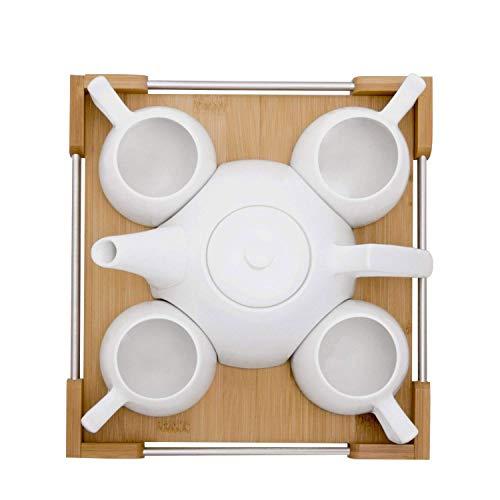 GuoYq Kreatives Keramikbecherset, einfaches Zuhause, Teeset/Kaffeeset/Bambusschale/weiße Teekanne, 4-Tassen-Set (Gusseisen Teekanne Set Mit 4 Tassen)