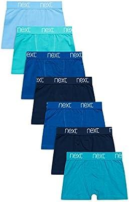 next Niños Pack De Siete Calzoncillos Azul Marino/Verde Azulado Ropa Interior Corte Estándar