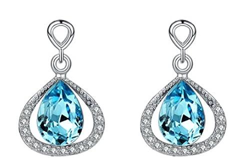 SaySure - 925 Sterling Silver Drop Earrings Garnet Pink & Azure Blue