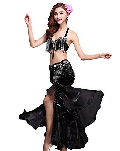 YiJee Damen Belly Dance Tanz Kostüm Split Bauchtanz Set BH Set Tops Rock Schwarz - Günstige Pailletten Tanz Kostüm
