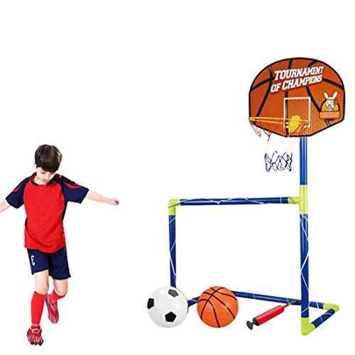 TENGER Portable Collapsible Football Net Door Kit 2-in-1 Kids Basketball Backboard Soccer Goal Set Training Toy 120cm