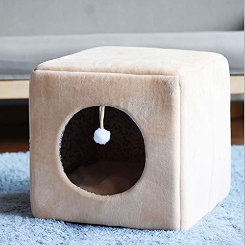 LZY Haustierbett- Winter Warm Cubic Winter Cat Supplies geschlossenes kleines Haustier-Nest (Farbe : Skin Tone, größe : 38x38x38cm)