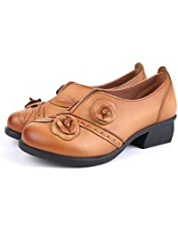 Socofy Women's Pumps-Shoes,Leather Flats Loafers Shoes Flower Retro Mid Heel Non-Slip Original Folkways Handmade Outdoor Shoes Casual Shoes