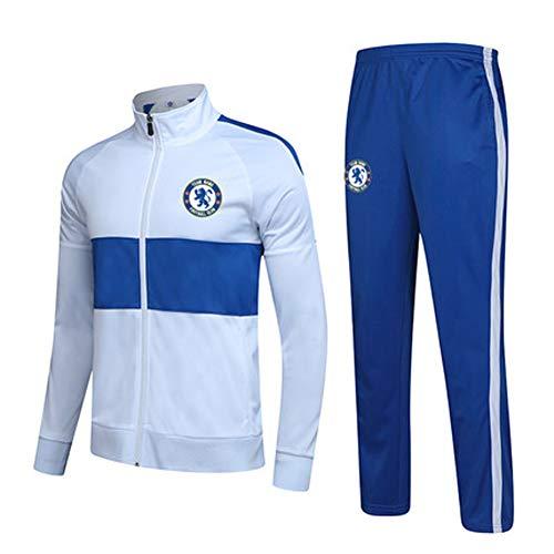 FNBA Chelsea Fußball Trikot für Jungen Kits Kinder Männer, Maßgeschneiderte Anzug Strickjacke Winddichte Jacke Professionelle Fußballtraining Anzug-White-M