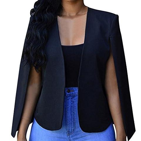Femme Chemisier, Feixiang personnalisation Exclusive Mode Femme Courroie courte Cape Blazer Manteau cape Cardigan Veste Trench pour chien, plastique, noir, S