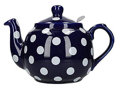 London Pottery - Théière avec infuseur - motif à pois style campagnard, Céramique, Bleu à pois blancs, 1.2 Litre